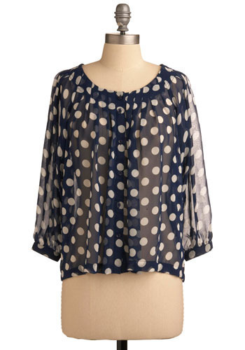 Dot it Down Top - Blue, White, Polka Dots, Pleats, Casual, Urban, 3/4 Sleeve, Mid-length