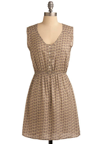 Discreet Delight Dress - Tan, Multi, Green, Purple, Brown, Floral, Casual, A-line, Sleeveless, Spring, Summer, Mid-length