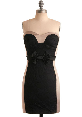 The Voice-Over Dress - Black, Tan / Cream, Bows, Lace, Wedding, Party, Casual, Shift, Strapless, Mid-length