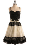 The Eliza Dress - Black, White, Bows, Lace, Tiered, Trim, Special Occasion, Prom, Party, A-line, Spaghetti Straps, Mid-length