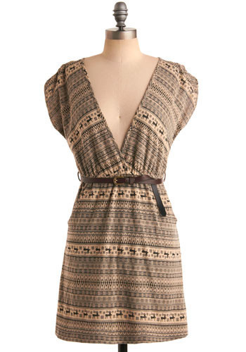 Caribou About You Dress - Brown, Cream, Print, Casual, A-line, Cap Sleeves, Short