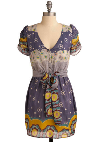 Incense Sensibility Dress - Purple, Multi, Red, Yellow, Green, Pink, Tan / Cream, Floral, Buttons, Casual, Sheath / Shift, Short Sleeves, Spring, Summer, Short