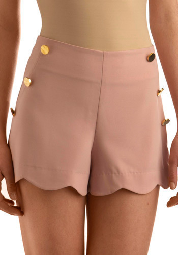 Chic Shenanigans Shorts - Pink, Solid, Buttons, Scallops, Formal, Urban, Spring, Summer, Short, International Designer