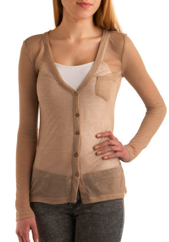See Clearly Cardigan in Sand - Tan, Solid, Buttons, Pockets, Casual, Long Sleeve, Spring, Fall, Mid-length