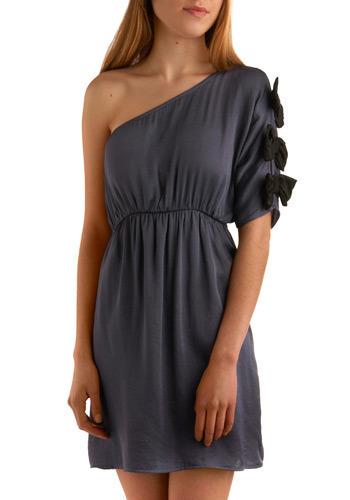 Cobalt Cabaret Dress - Blue, Black, Solid, Bows, Wedding, Party, Casual, Empire, One Shoulder, Short