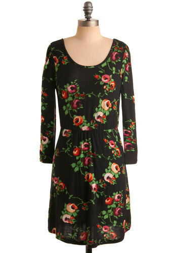 Flora Luna Dress by Tulle Clothing - Black, Multi, Red, Orange, Green, Pink, White, Floral, Casual, A-line, Long Sleeve, Spring, Summer, Fall, Short