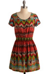 Polygraphic Dress - Red, Green, Blue, Tan / Cream, Print, A-line, Short Sleeves, Short
