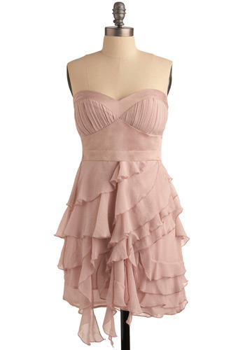 Lovely Creation Dress - Pink, Solid, Ruffles, Tiered, Formal, Prom, Wedding, Party, Luxe, Empire, Strapless, Mid-length