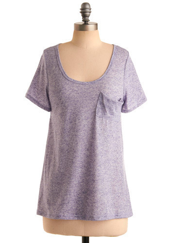 Eager Encouragement Top - Purple, Solid, Pockets, Casual, Short Sleeves, Spring, Summer, Mid-length