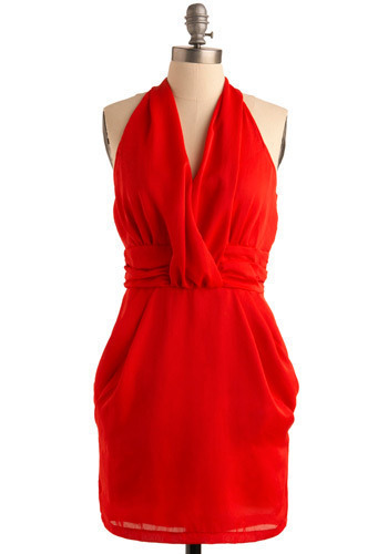 Rooftop Samba Dress - Red, Solid, Pleats, Formal, Wedding, Party, Sheath / Shift, Halter, Short