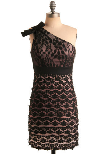 Dress-Up Date Frock - Pink, Black, Floral, Bows, Lace, Casual, Shift, One Shoulder, Short
