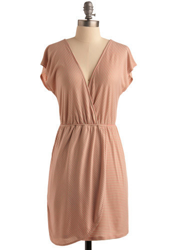 Jolly Dancer Dress - Pink, Grey, Stripes, Casual, Wrap, Short Sleeves, Spring, Summer, Mid-length