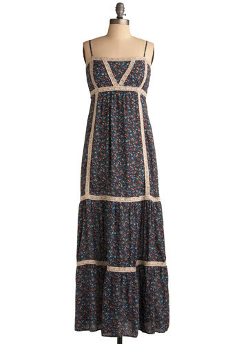 Urban Egress Dress - Blue, Red, Tan / Cream, Multi, Floral, Lace, Casual, Maxi, Spaghetti Straps, Spring, Summer, Long