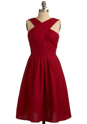Second Verse Dress - Red, Solid, Pleats, Special Occasion, Prom, Wedding, Party, Luxe, A-line, Sleeveless, Tank top (2 thick straps), Long