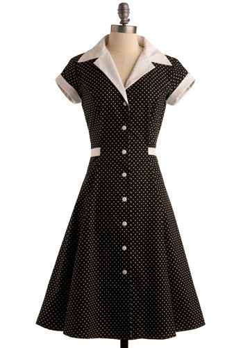 Comedy Hour Dress in Dotted Black - Long