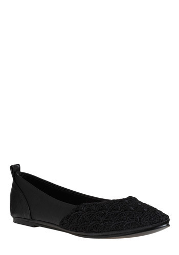 Evening Walk Flat - Black, Solid, Lace, Casual