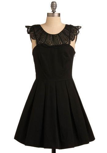Beloved Duchess Dress - Black, Solid, Lace, Pleats, Wedding, Party, Casual, Luxe, A-line, Sleeveless, Mid-length