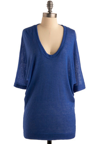 Indigo Your Own Way Tunic - Blue, Solid, Casual, 3/4 Sleeve, Spring, Summer, Long
