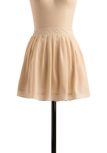 Sugar on Snow Skirt - Cream, Solid, Pleats, Party, Casual, A-line, Mini, Spring, Summer, Winter, Short
