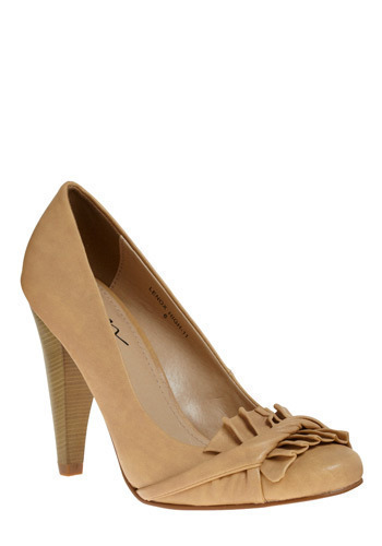 Sun-baked Heel - Tan, Solid, Pleats, Formal, Party, Work, Casual