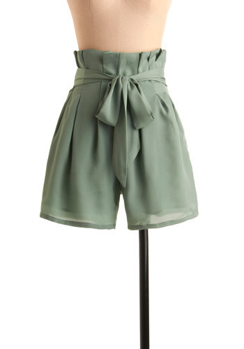 Timeshare Shorts - Green, Solid, Bows, Casual, Long