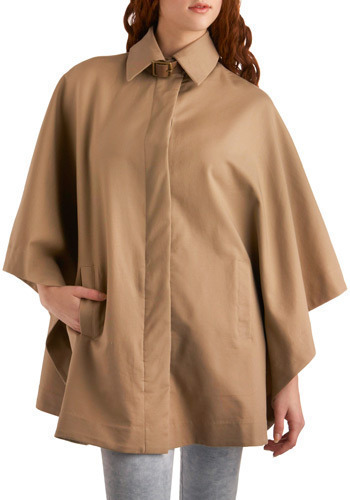 The Great Cape-r by BB Dakota - Tan, Solid, Buckles, Casual, Urban, Long Sleeve, Fall, Long