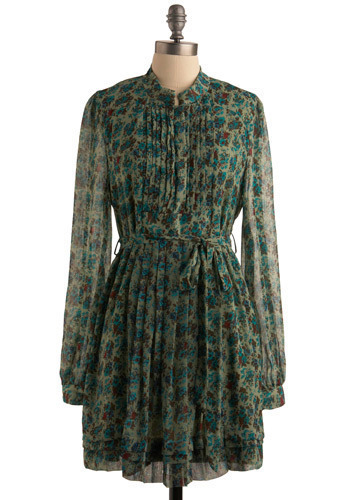 Floriculture Dress - Green, Multi, Red, Blue, Brown, Floral, Bows, Buttons, Pleats, Casual, Shift, Long Sleeve, Spring, Summer, Fall, Mid-length