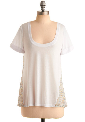Tea-shirt Time Top - White, Yellow, Brown, Tan / Cream, Floral, Casual, Short Sleeves, Spring, Summer, Mid-length