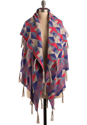 Favorite Colors Shawl - Multi, Red, Blue, Purple, Tan / Cream, Tassels, Casual, Boho, Urban