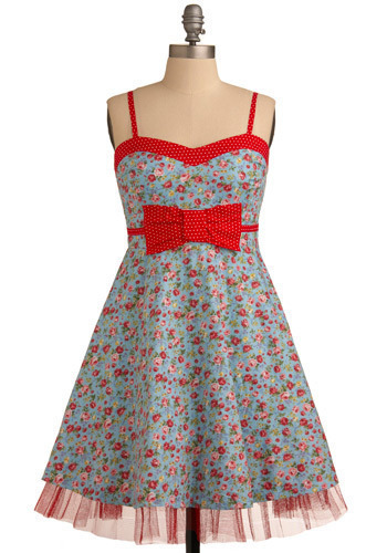 Entertaining at Home Dress - Blue, Multi, Red, Yellow, Green, Pink, Floral, Bows, Trim, Party, Casual, A-line, Empire, Spaghetti Straps, Spring, Summer, Mid-length