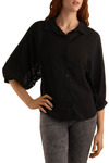 Deep in Dreams Top - Black, Solid, Buttons, Lace, Work, Casual, Urban, 3/4 Sleeve, Mid-length