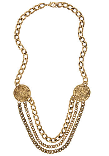 Newly Coined Necklace - Gold, Chain, Casual, Statement