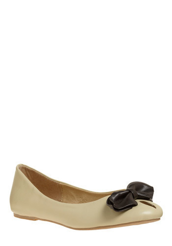 The Bow Down Flat - Cream, Black, Solid, Bows, Cutout, Party, Work, Casual, Spring, Summer, Fall