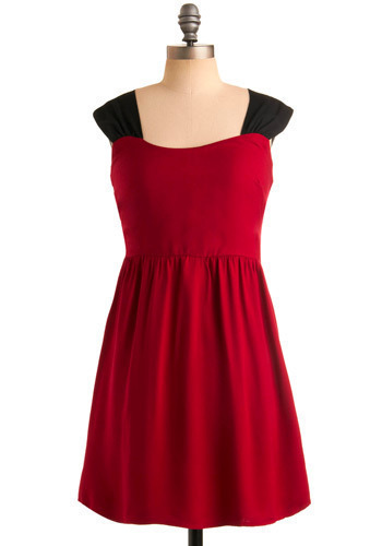 Be Yourself Dress - Red, Black, Party, Casual, A-line, Sleeveless, Tank top (2 thick straps), Mid-length