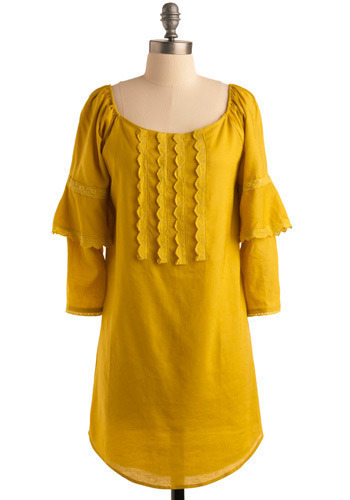 Chartreuse or Dare Tunic - Yellow, Solid, Eyelet, Trim, Casual, Sack, 3/4 Sleeve, Spring, Summer, Long
