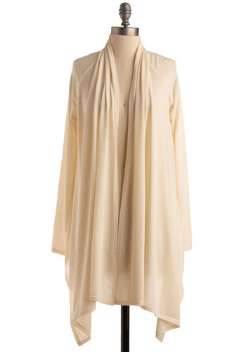 Fabulous Voyage Cardigan - White, Solid, Ruffles, Tiered, Casual, Long Sleeve, Fall, Winter, Mid-length