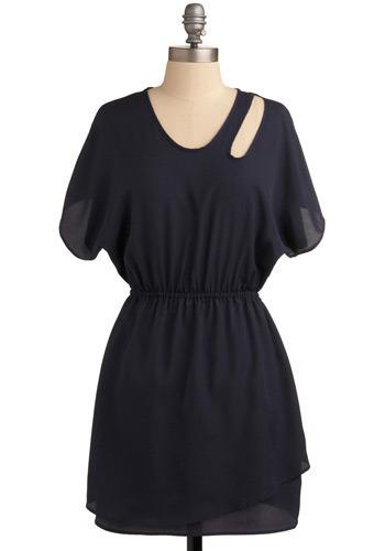 Peek-a-blue Dress - Blue, Solid, Cutout, Casual, Shift, Short Sleeves, Short