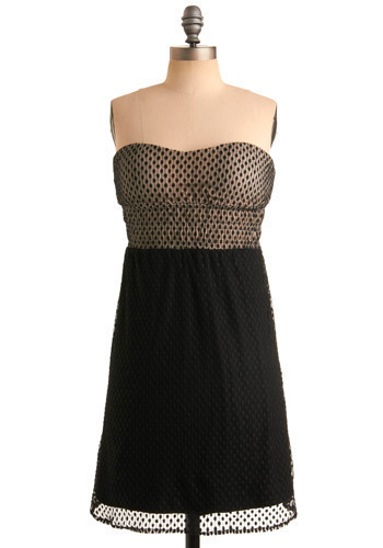 Dot for You Dress - Black, Tan / Cream, Polka Dots, Party, A-line, Empire, Twofer, Strapless, Mid-length