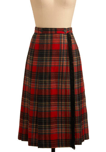 Vintage Never Sad in Plaid Skirt