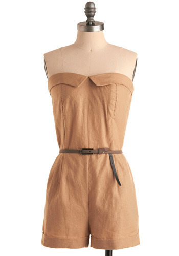Favorite Nickname Romper - Tan, Solid, Buckles, Pleats, Pockets, Casual, Safari, Strapless, Spring, Summer, Long