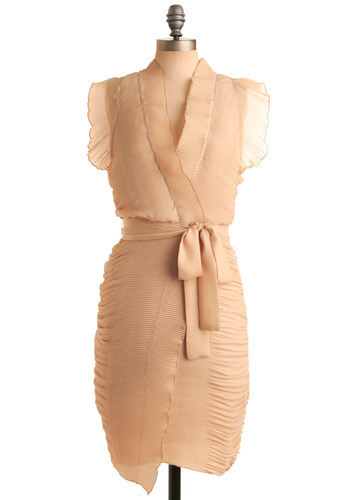 Ripple of Excitement Dress - Cream, Solid, Bows, Pleats, Ruffles, Formal, Wedding, Party, Wrap, Short Sleeves, Mid-length