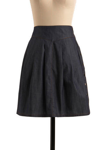 Humble Abode Skirt - Blue, Solid, Buttons, Pleats, Casual, A-line, Mid-length