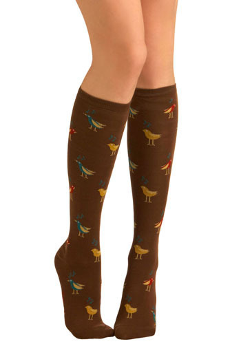 Sing High Socks - Brown, Red, Yellow, Blue, Print with Animals, Knitted, Casual