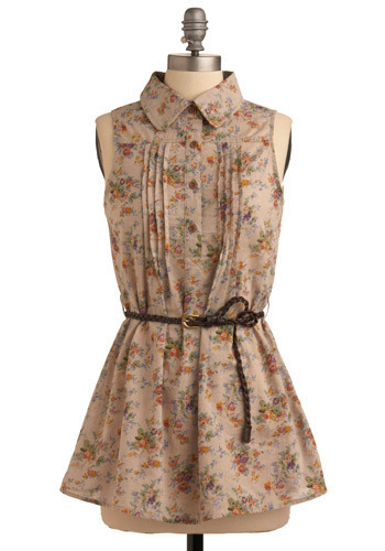 Alt Country Rose Tunic - Brown, Cream, Multi, Orange, Green, Blue, Pink, Floral, Braided, Pleats, Casual, Sleeveless, Spring, Summer, Long