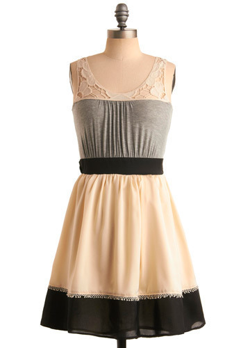 Gazebo Glam Dress - Cream, Grey, Black, Lace, Casual, A-line, Sleeveless, Short