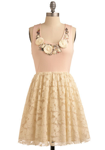 Park Güell Dress - Pink, Tan / Cream, Flower, Lace, Wedding, Party, Casual, A-line, Tank top (2 thick straps), Mid-length