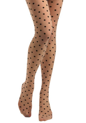 Jukebox Tights in the Twist - Cream, Black, Polka Dots, Casual, Rockabilly, Pinup