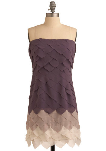 Lavender Wreath Dress - Purple, Tan / Cream, Wedding, Party, Casual, Shift, Strapless, Short