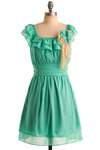 Seafoam of Affection Dress - Green, Blue, Tan / Cream, Flower, Pleats, Ruffles, Wedding, Party, Casual, Empire, Cap Sleeves, Spring, Summer, Mid-length