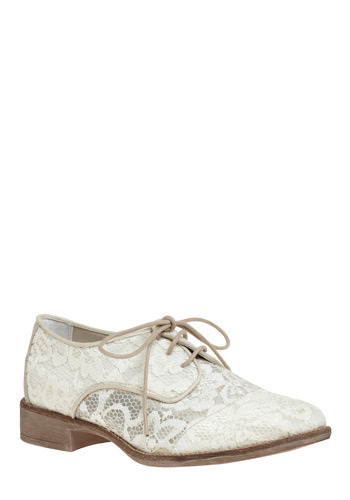 Let There Be Delight Shoe - White, Floral, Lace, Casual, 30s